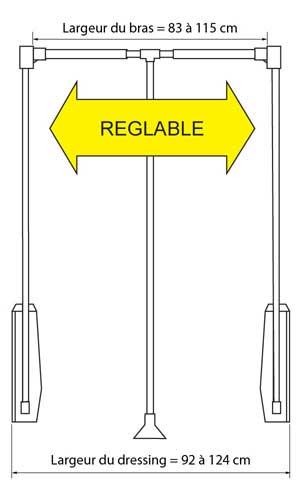 Elévateur de penderie largeur bras 83-115 cm